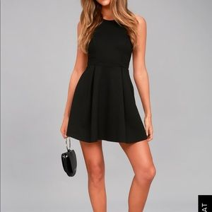 NWT Lulus Cutout & About Black Skater Dress